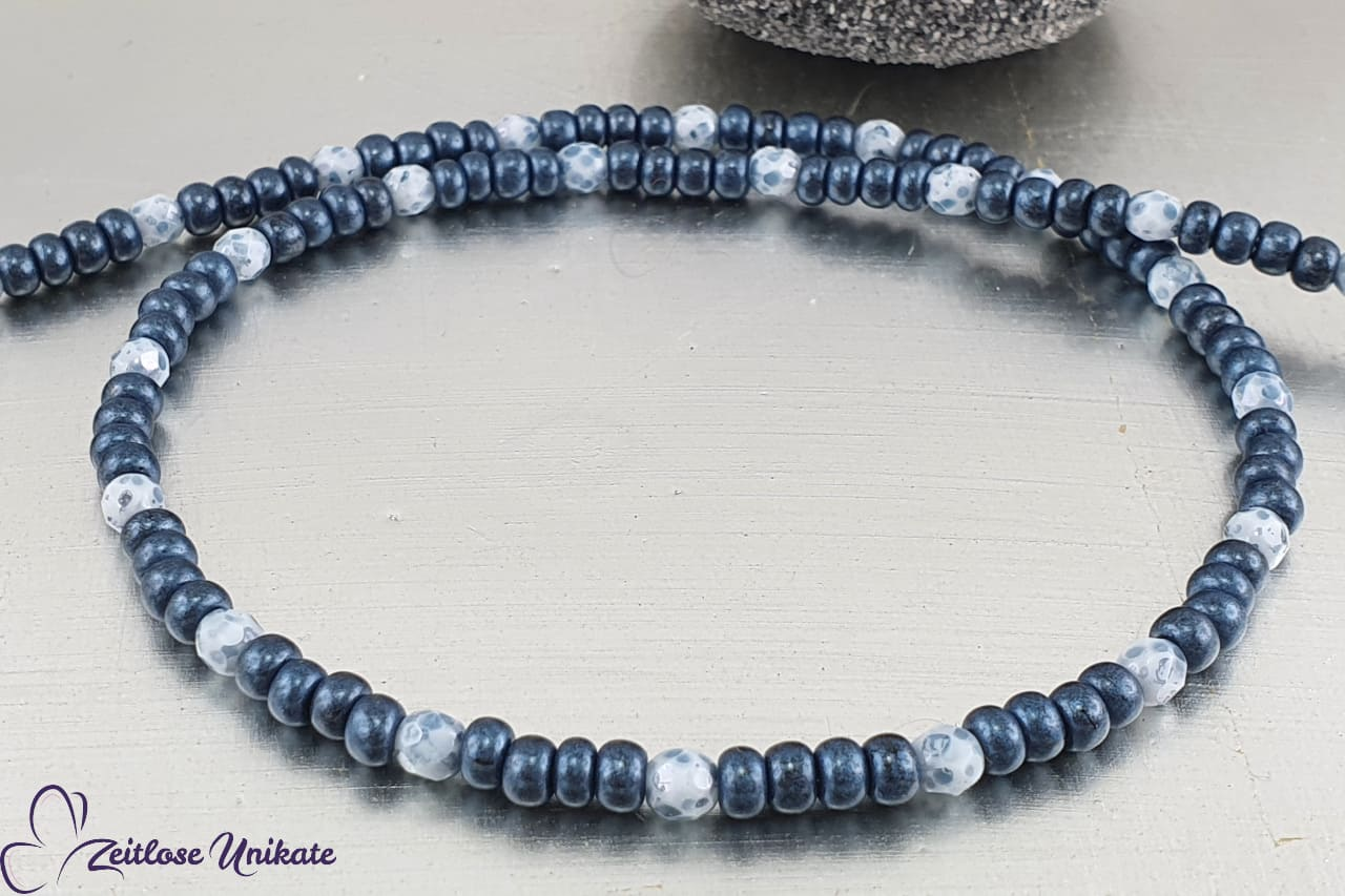 Jeansblau weiße Kette, Multifunktional - Brillenkette Maskenkette auf Wunsch