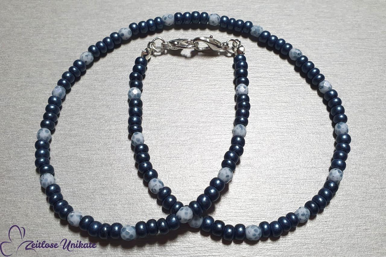 Maskenkette Mundschutzkette denim blue, jeansblau weiß