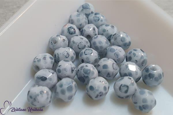 Mundschutzkette Perlen jeansblau weiß, Brillenkette