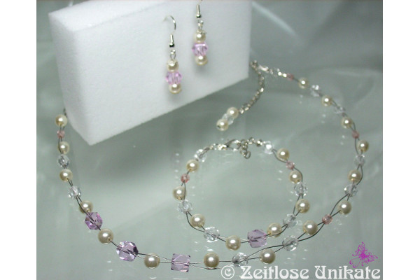 Brautset Kette, Armband, Ohrringe mit rosa (light rose & cream)