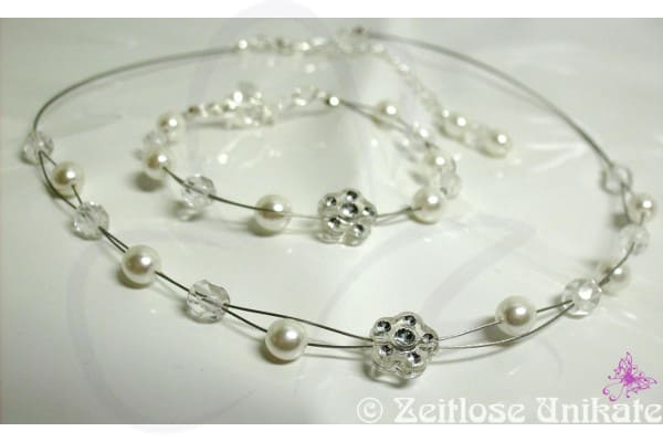 Brautarmband, Brautkette schlicht Blume