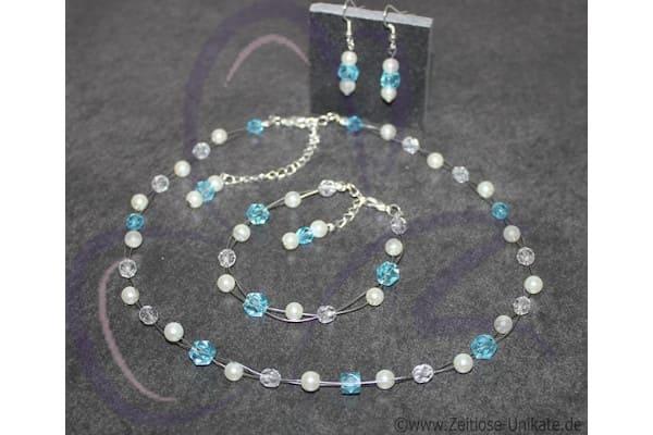 großes Brautschmuck Set Etwas Blaues mit Haarband