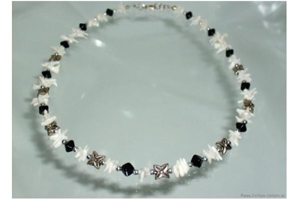 Halskette schwarz weiß & antiksilber
