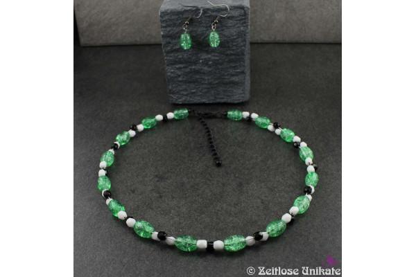 Grün schwarz weiß, Schmuckset Wunsch