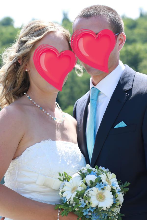 Brautschmuck blaue und weiße Perlen, Glücksbringer
