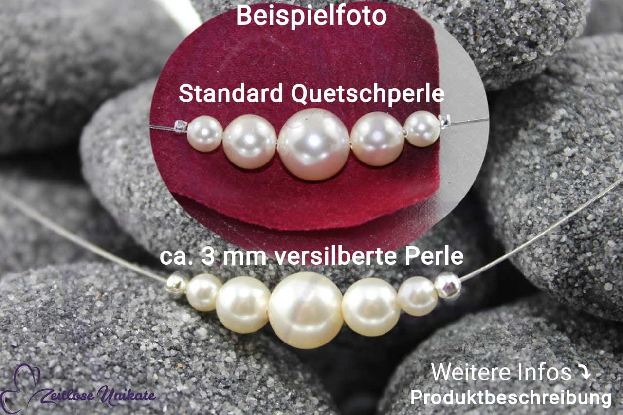 Beispiel mit und ohne 3 mm versilberte Perlen
