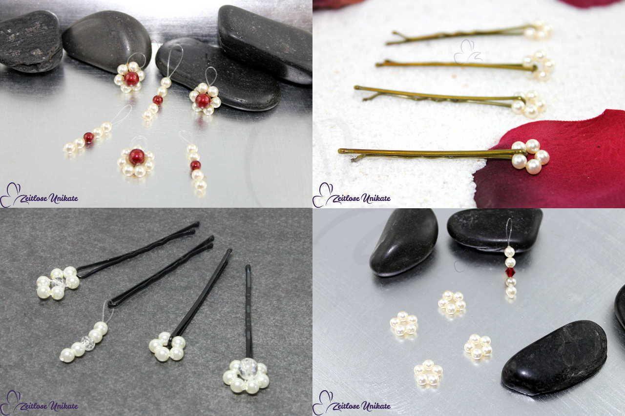 Collage verschiedene zierliche Perlen, Brautfrisuren