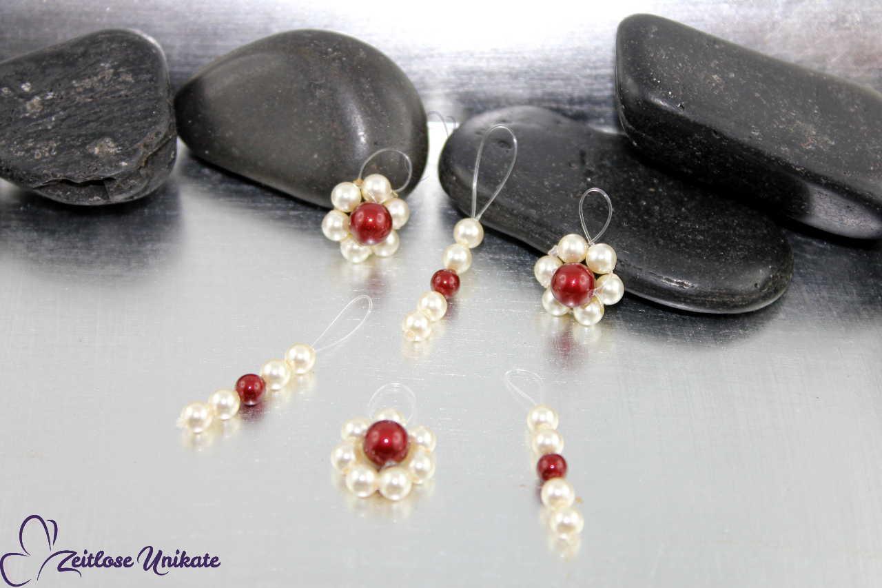Perlen Blumen für die Brautfrisur, Haarklammern
