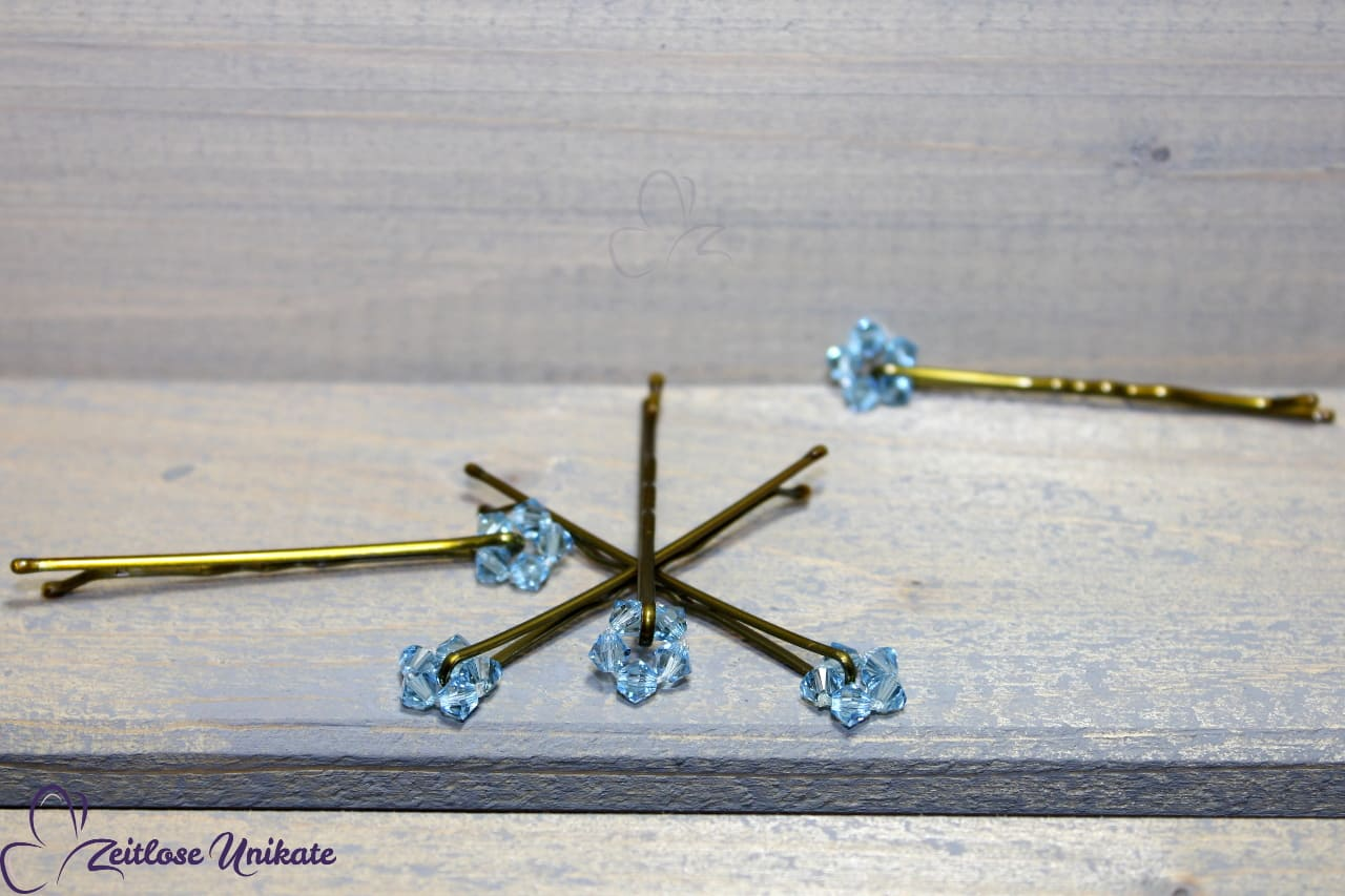 Dezenter Haarschmuck, Haarklammer blaue Kristalle