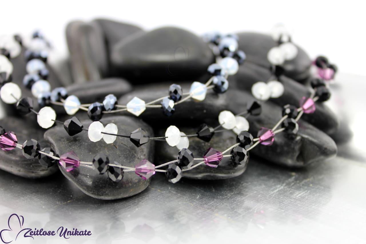 Halskette gefertigt aus Swarovski® Xilion Beads, auch in Ihrer Wunschfarbe möglich