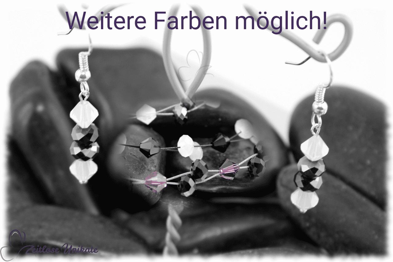 Ohrhänger in dunkelgrau und weiß Beispiel für lila schwarz